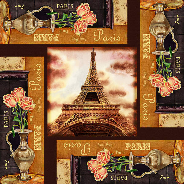 Painting - Eiffel Tower Roses Dance by Irina Sztukowski