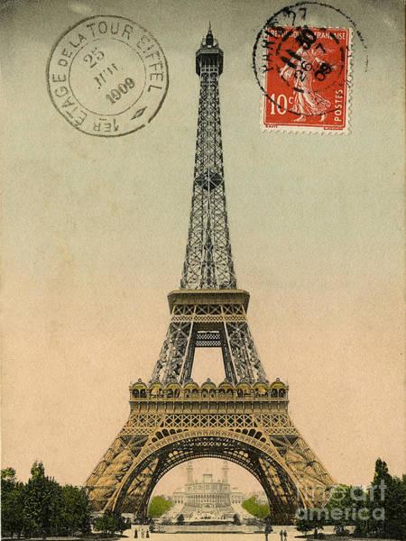 Le Tour De France Wall Art - Digital Art - Eiffel Tower Vintage Postcard by Scarebaby Design