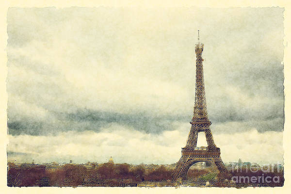 Wall Art - Photograph - Eiffel Tower Watercolour by Jane Rix