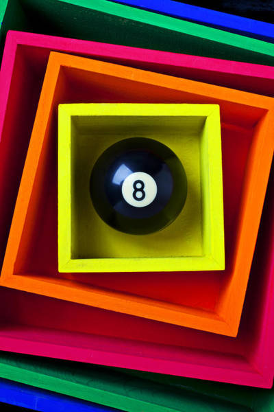 Pool Ball Photograph - Eight Ball In Box by Garry Gay