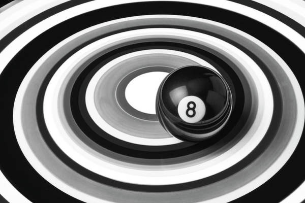 Pool Ball Photograph - Eight Ball In Circles by Garry Gay