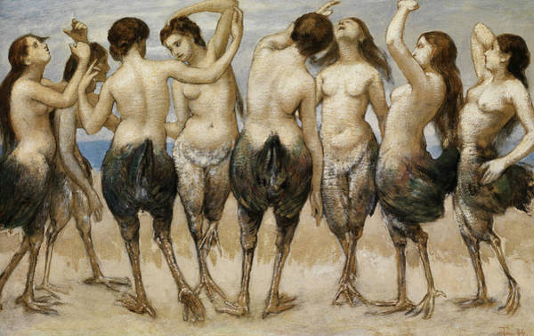 Wall Art - Painting - Eight Dancing Women In Bird Bodies by Hans Thoma