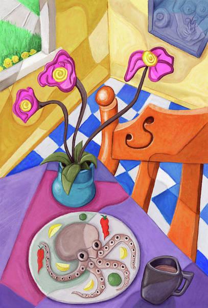 Tentacles Digital Art - Eight Leg Dinner by David Kyte