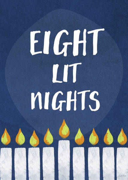 Wall Art - Mixed Media - Eight Lit Nights- Hanukkah Art By Linda Woods by Linda Woods