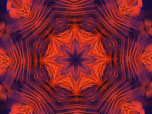 Digital Art - Eight Petal Orange Kaleidoscope by Ernst Dittmar