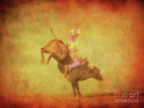 Bucking Bronco Digital Art - Eight Seconds Rodeo Bull Riding by Randy Steele