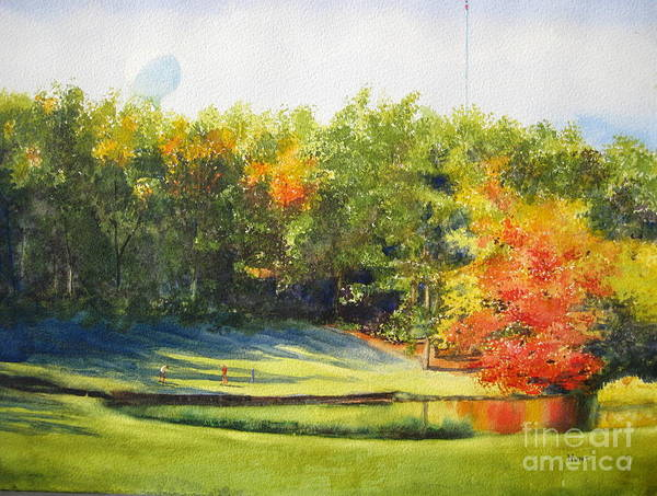 Country Club Painting - Eighteenth Hole by Shirley Braithwaite Hunt