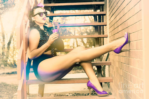 Babe Photograph - Eighties Pinup Woman Drinking Pop Art Soda by Jorgo Photography - Wall Art Gallery
