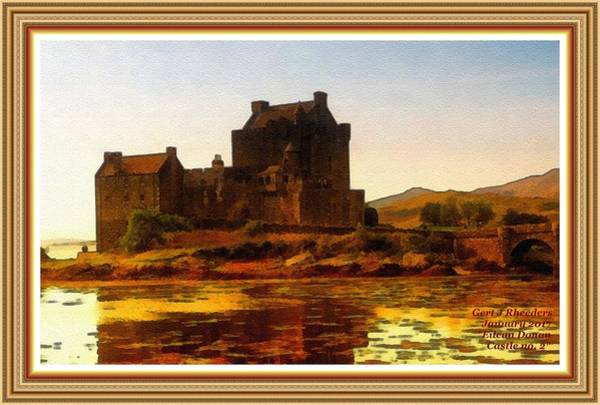 Eilean Donan Castle Painting - Eilean Donan Castle No. 2 B L A With Alt. Decorative Ornate Printed Frame.   by Gert J Rheeders