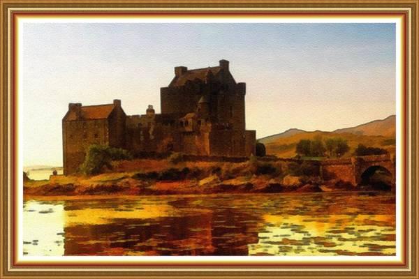 Eilean Donan Castle Painting - Eilean Donan Castle No. 2 B L B With Alt. Decorative Ornate Printed Frame. by Gert J Rheeders