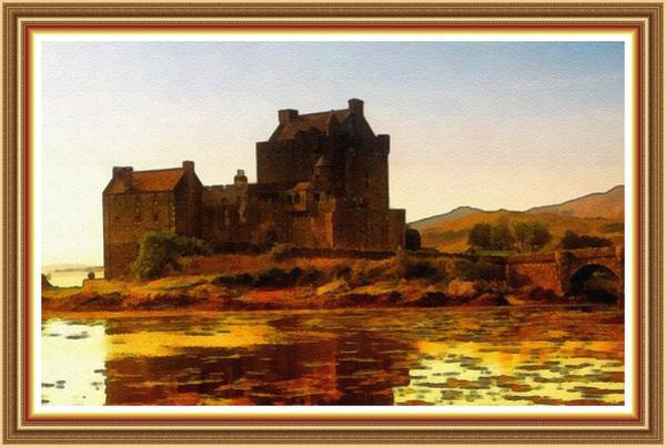 Eilean Donan Castle Painting - Eilean Donan Castle No, 2 B L B With Decorative Ornate Printed Frame. by Gert J Rheeders