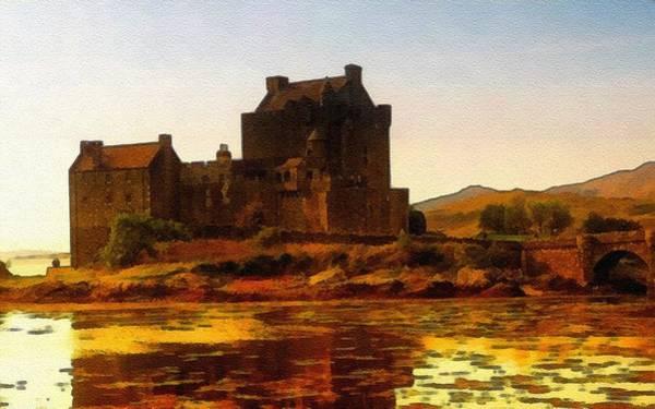 Eilean Donan Castle Painting - Eilean Donan Castle No.2 B L B by Gert J Rheeders