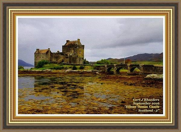 Eilean Donan Castle Painting - Eilean Donan Castle- Scotland- 2 L A With Alt. Decorative Ornate Printed Frame. by Gert J Rheeders