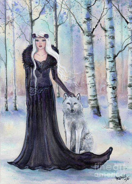 Arctic Wolf Painting - Eindride Nordi Goddess With Wolf by Renee Lavoie