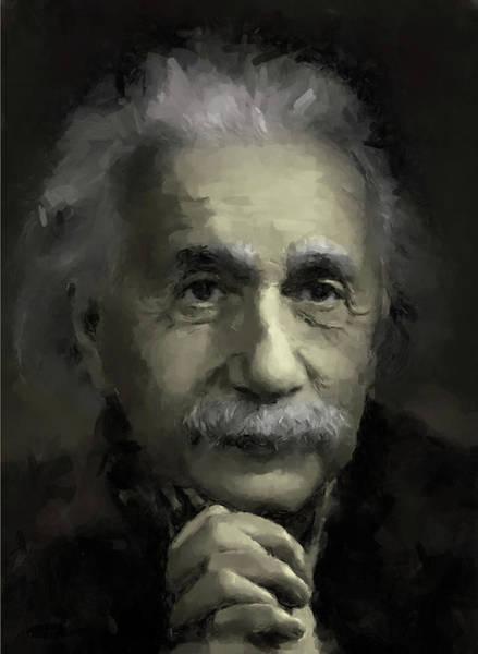 Painterly Digital Art - Einstein by Gary Grayson