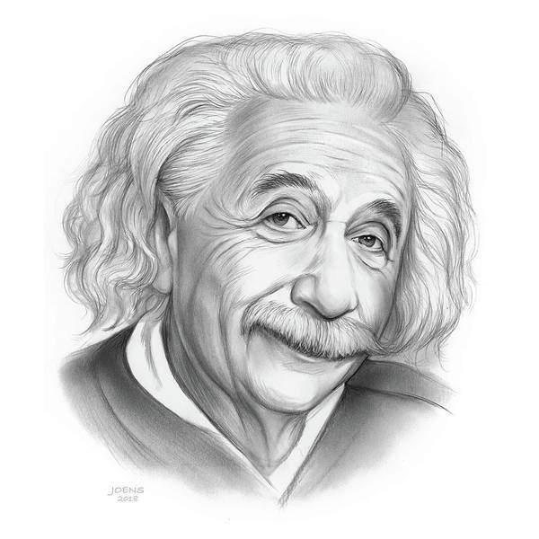 Einstein Wall Art - Drawing - Einstein by Greg Joens