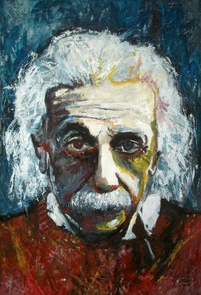 Quantum Physics Painting - Einstein by Marcelo Neira