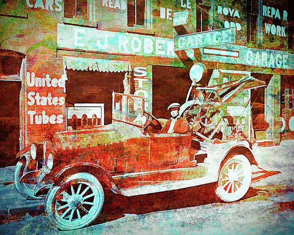 Digital Art - Ej Roberts Garage And Tow Truck Splattered by David King