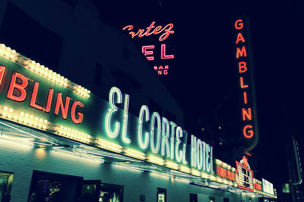Photograph - El Cortez Hotel At Night by SR Green