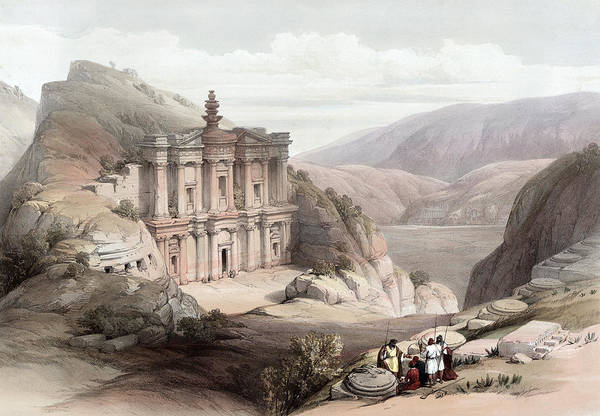 Holy Land Photograph - El Deir Petra 1839 by Munir Alawi