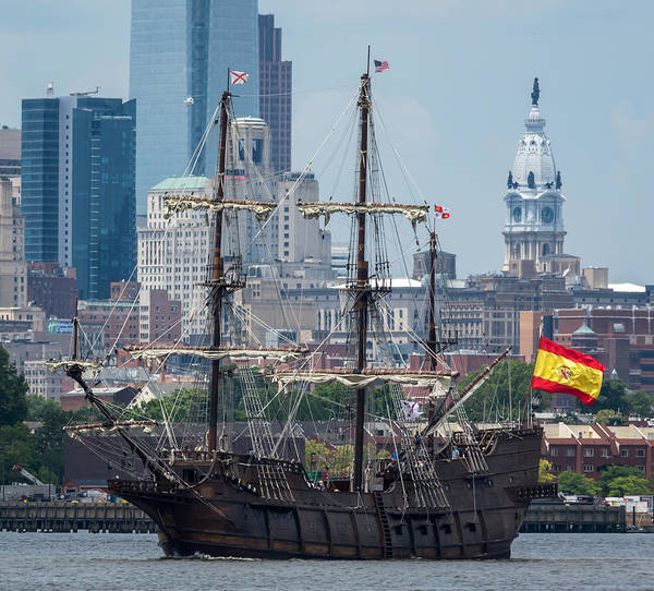 Photograph - El Galeon Andalucia Close Up Philly Skyline by Terry DeLuco