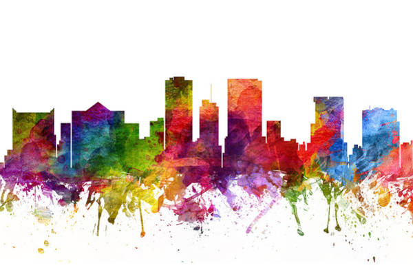 El Paso Wall Art - Painting - El Paso Cityscape 06 by Aged Pixel