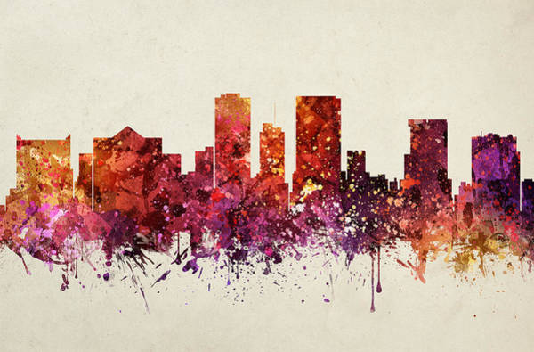 El Paso Wall Art - Painting - El Paso Cityscape 09 by Aged Pixel