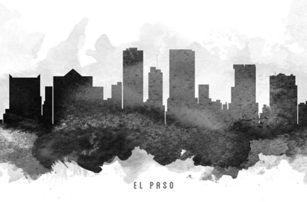 El Paso Wall Art - Painting - El Paso Cityscape 11 by Aged Pixel