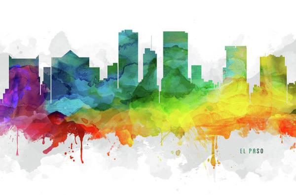 El Paso Wall Art - Digital Art - El Paso Skyline Mmr-ustxep05 by Aged Pixel