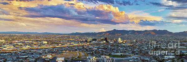 Downtown El Paso Photograph - El Paso Skyline Panoramic by Brian Wancho
