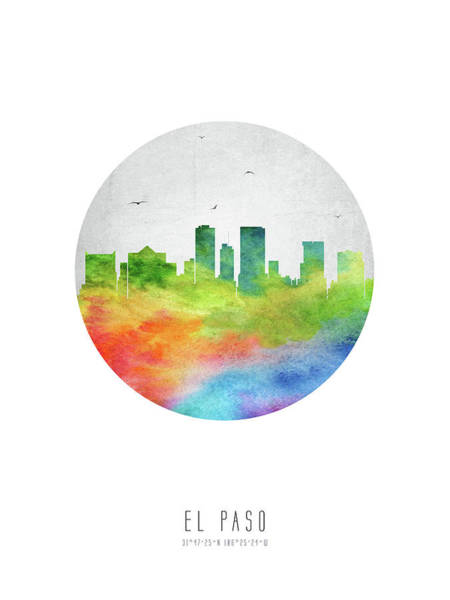 El Paso Wall Art - Digital Art - El Paso Skyline Ustxep20 by Aged Pixel