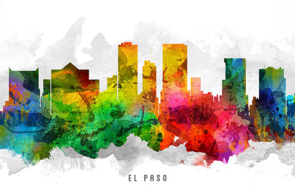 El Paso Wall Art - Painting - El Paso Texas Cityscape 12 by Aged Pixel