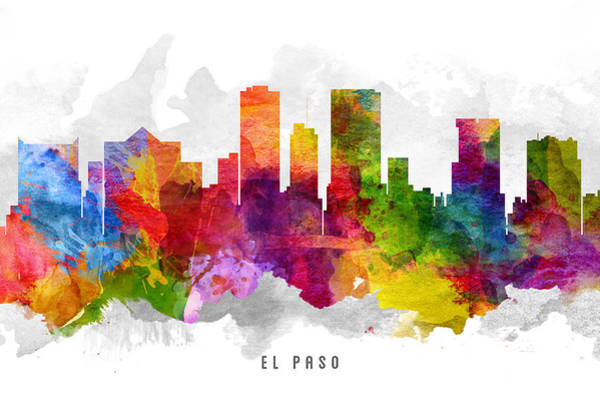 El Paso Wall Art - Painting - El Paso Texas Cityscape 13 by Aged Pixel