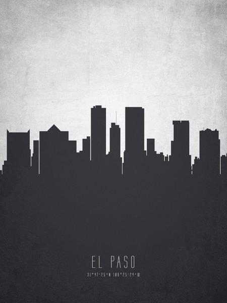 El Paso Wall Art - Painting - El Paso Texas Cityscape 19 by Aged Pixel