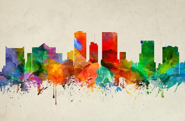 El Paso Wall Art - Painting - El Paso Texas Skyline 22 by Aged Pixel