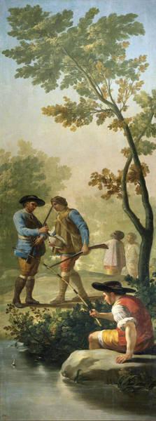 Angler Art Painting - El Pescador De Cana by Francisco de Goya