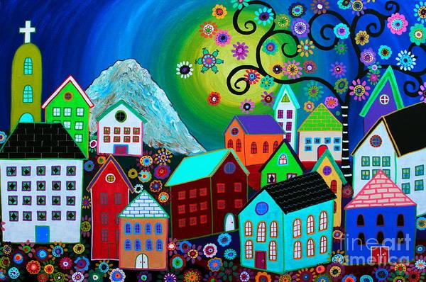 Prisarts Wall Art - Painting - Mi Pueblo Divino by Pristine Cartera Turkus