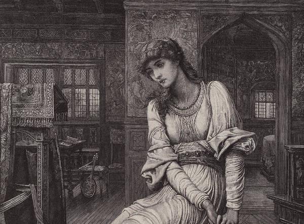 Maid Drawing - Elaine by John Melhuish Strudwick