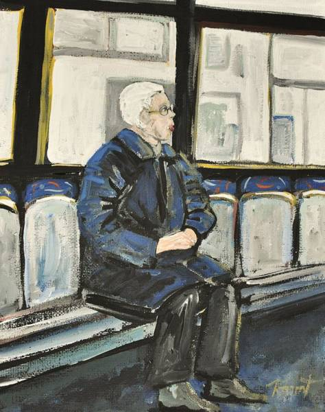 Montreal Street Scene Painting - Elderly Lady On 107 Bus Montreal by Reb Frost