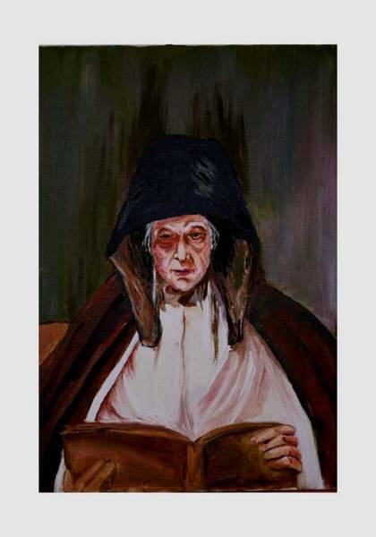 Painting - Elderly Lady Reading A Book by Asha Sudhaker Shenoy