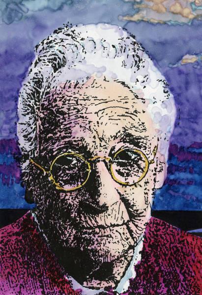 Drawing - Elderly Woman by David Kleinsasser
