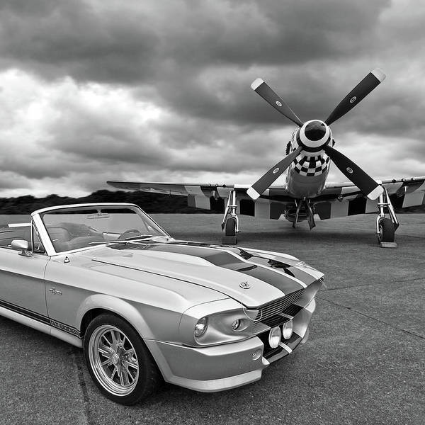 Black Car Photograph - Eleanor Mustang With P51 Black And White by Gill Billington