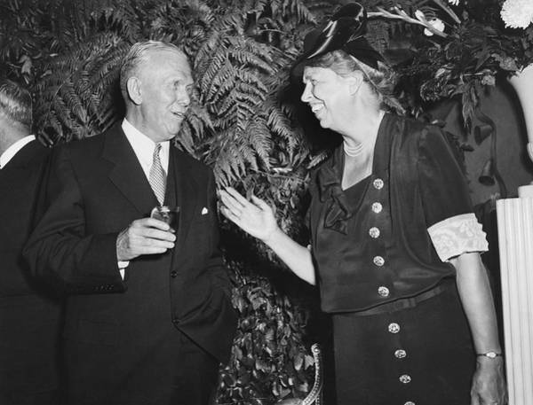 Nightime Photograph - Eleanor Roosevelt And Marshall by Underwood Archives