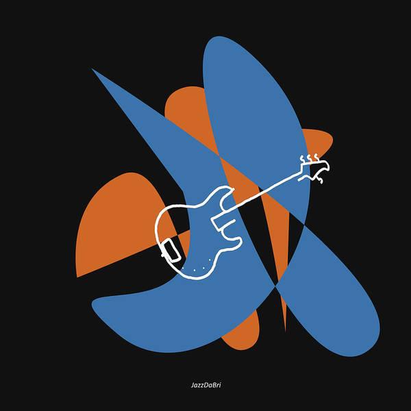 Digital Art - Electric Bass In Blue by David Bridburg
