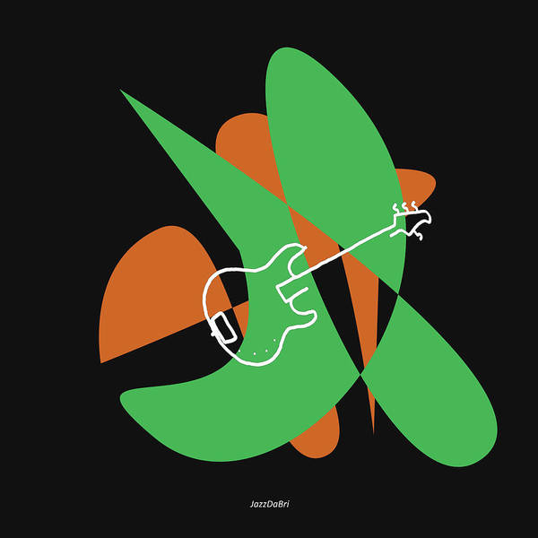 Digital Art - Electric Bass In Green by David Bridburg