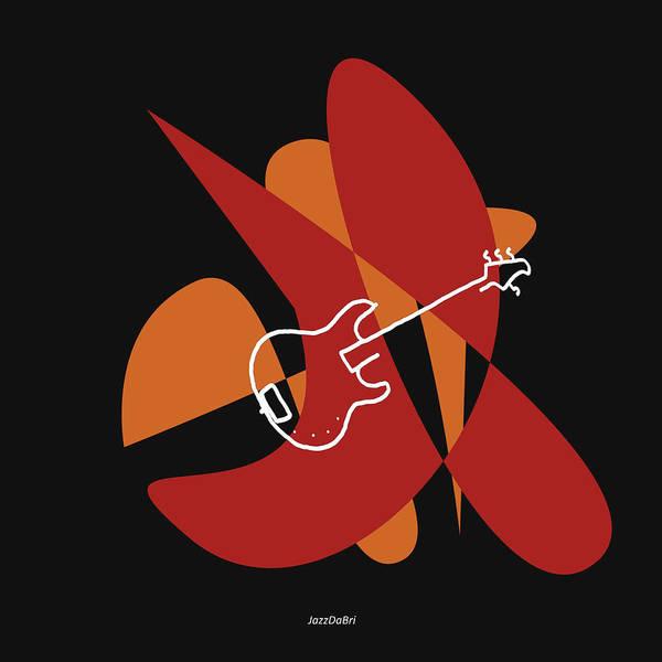Digital Art - Electric Bass In Orange Red by David Bridburg