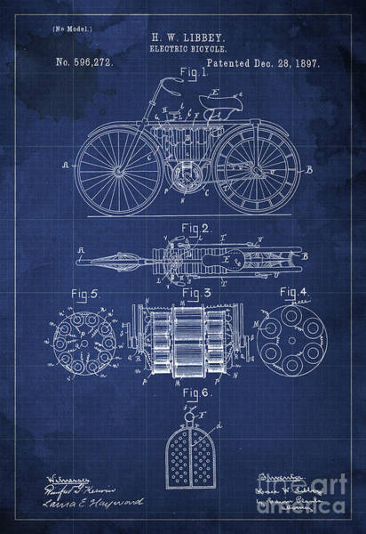 Electric Blues Painting - Electric Bicycle Patent Blueprint Year 1897 Blue Vintage Art by Drawspots Illustrations