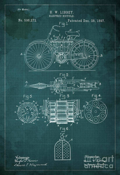 Electric Blues Painting - Electric Bicycle Patent Blueprint Year 1897 Green Vintage Art by Drawspots Illustrations