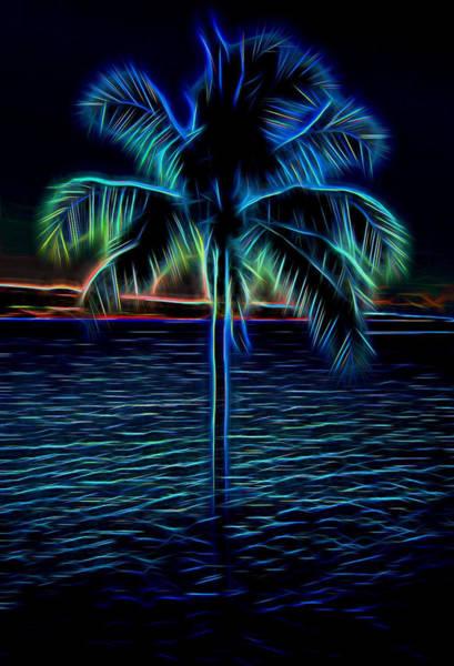 Mixed Media - Electric Blue Palm Tree by Pamela Walton