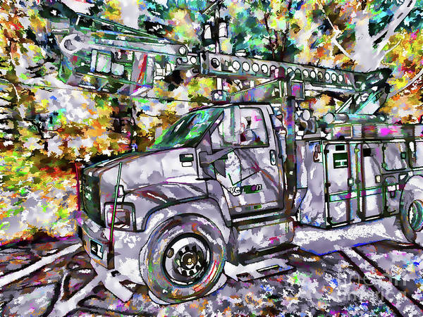 Utility Poles Painting - Electric Bucket Trucks by Jeelan Clark